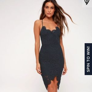 Lulus flirting with desire navy lace bodycon dress